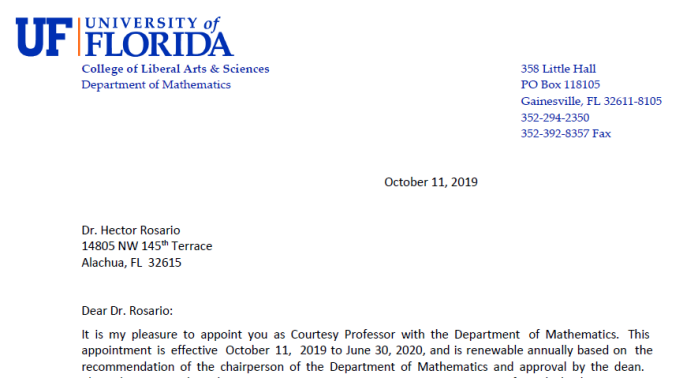 UF courtesy appointment